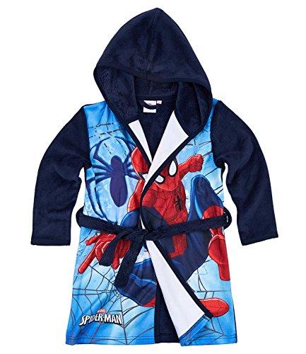 Spiderman Garçon Robe de chambre à capuche polaire, toucher doux - bleu marine - 5 ans