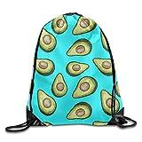 Hat New Bolsas de Hombro con cordón para Mochila, Mochila de Deporte Unisex, diseño de Frutas Tropicales, Estampado de Aguacate