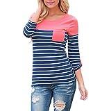Hmeng Frauen Baumwoll-gestreiftes langes Hülsen-lose Blusen-Taschen-beiläufiges Hemd-Oberseiten-T-Shirt
