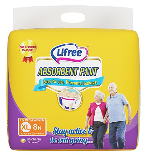 Lifree Absorbent Pant Adult Diapers for Men & Women XL 8 Pcs