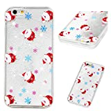 """iPhone 6S Case, iPhone 6 Case 3D Christmas Flowing Liquid Glitter Cover Sparkly Snowflakes Stars Clear Hard PC Back Soft Frame Xmas Case Santa Claus for iPhone 6S/iPhone 6 4.7"""" Little Santa Claus"""