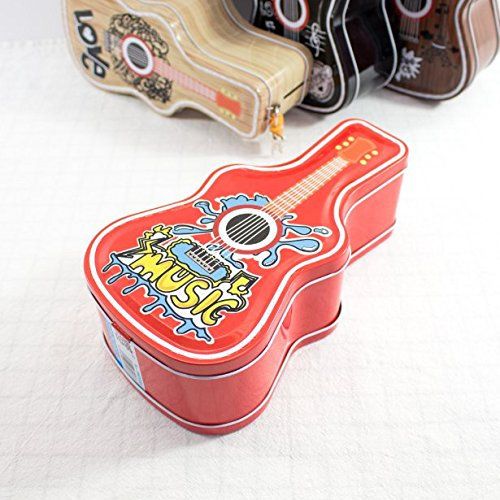 Keyi le Kinder Möbel Geld Banken Hip Hop Gitarre Sparschwein Amazing Weißblech Candy Jar mit Schloss (rot)