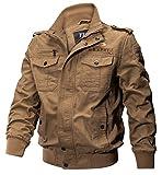 YYZYY Nouveaux Homme Printemps Automne Coton Militaire Veste Voler Bomber Blousons Outdoor Manteaux Multi-poche Mens Cotton Lightweight Jacket (FR X-Large, 2701/Noir)