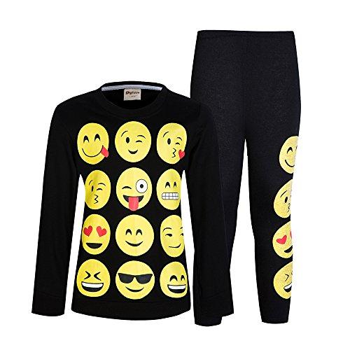 AmzBarley Mädchen Lange Pyjamas Sets Emoji Stil Lange Pjs Kind Nachtwäsche Hause Kleidung 4-5 Jahre (Set Check Pyjama Short)
