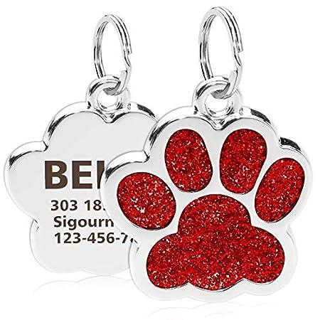TagME Personalisierter Hund & Katze Marke/Hundemarke aus Edelstahl mit eingraviertem Namen und Telefonnummer/Prickelnde Katzenmarke in Pfotenform