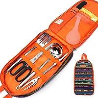 KAKU Cubiertos De Viaje Sets Camping Gear Utensilio 7 En 1 Plegable Portátil Multiuso Reutilizable Conjunto