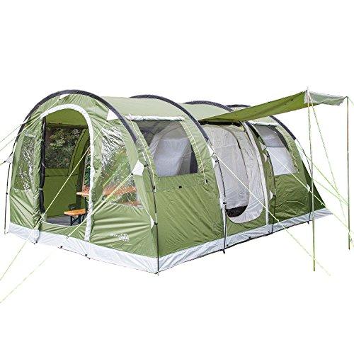 Skandika Gotland 4 - Tende Campeggio familiare - zanzariera - 480 x 310 cm - Telo sotto Tenda Cucito - Colonna d`Acqua 5000mm (Verde)