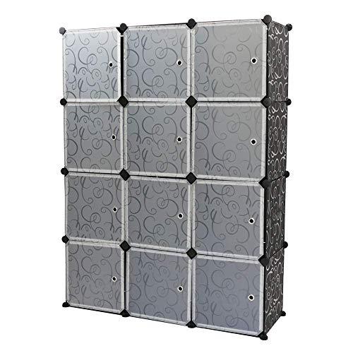 PrimeMatik - Armario Organizador Modular Estanterías de 12 Cubos de 35x35cm plástico Negro con Puertas y Dibujos