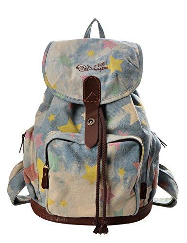 Douguyan Mode Retro Tasche Freizeitrucksack Reiserucksack Schulrucksack Daypack girls Backpack fashion Rucksack damen E00117 Denim Kleine Stern -
