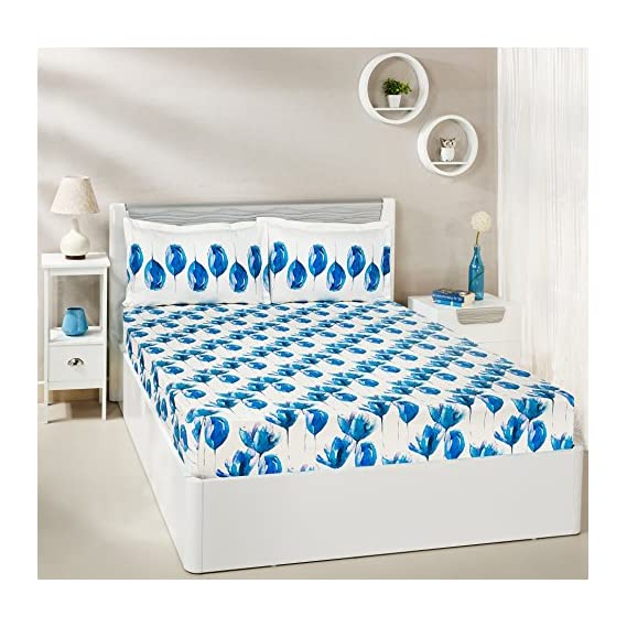 Amazon Brand - Solimo 144 TC 100% Cotton Double Bedsheet with 2 Complimentary Pillow Covers
