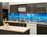 Küchenrückwand Folie selbstklebend FUTURISTISCHE STADT 260 x 60 cm | Klebefolie - Dekofolie - Spritzchutz für Küche | PREMIUM QUALITÄT