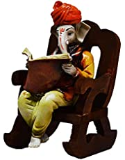 eCraftIndia Lord Ganesha Reading Book on Wooden Chair