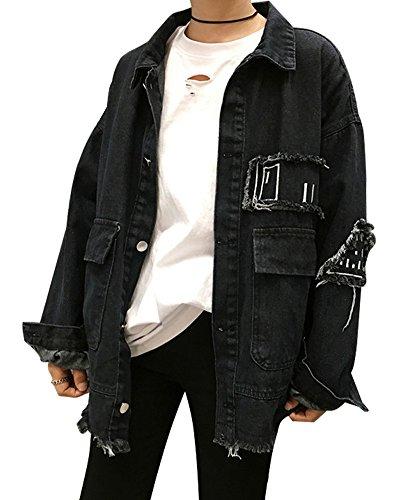 Gewaschenes Leinen Blazer (Minetom Damen Mädchen Beiläufig Stilvoll Bestickt Rose Gewaschene Jeans Denim Jeansjacke Jacket Oberbekleidung Coats Mantel E Schwarz DE 36)