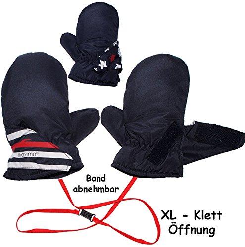 Zwei Leichte Streifen (Fausthandschuhe / Fäustlinge - mit langem Schaft + Klettverschluß - Größen: 2 bis 3 Jahre -