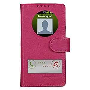Dsas Geniune leather Flip cover with screen Display Cut Outs designed for Samsung Galaxy J5