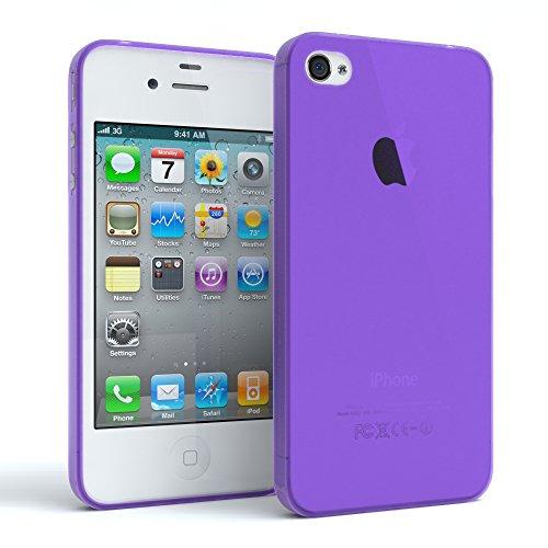 EAZY CASE Hülle für Apple iPhone 4 / 4S Schutzhülle Silikon, matt & Ultra dünn Slimcover, Handyhülle, Hülle/Soft Case, Silikonhülle, Backcover, Lila