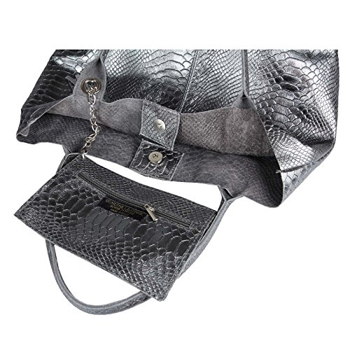 OBC Damen Metallic Tasche Shopper Hobo Bag Schultertasche Umhängetasche Handtasche Henkeltasche Beuteltasche (Taupe 41x37x12) Dunkelgrau (Schlange)