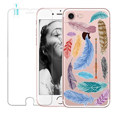 Coque iPhone 5/5S/SE avec film protecteur d'écran en verre trempé, Blossom01Ultra mince souple en gel TPU Coque de protection en silicone avec motif de plumes pour iPhone 5/5S/SE iPhone 5 / 5S / SE # #03
