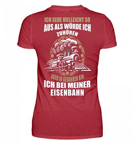 Shirtee Hochwertiges Damen Organic Shirt - Eisenbahn - in Gedanken Bin Ich Dunkelrot