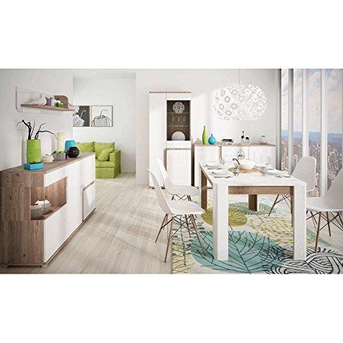 JUSThome MILANO III Wohnzimmerset Wohnzimmermöbel Wohnwand Farbe: Nelson Eiche / Weiß Hochglanz