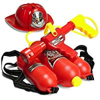 Prextex Fireman Backpack Water Gun Blaster with Fire Hat- Water Gun Beach Toy and Outdoor Sports Toy