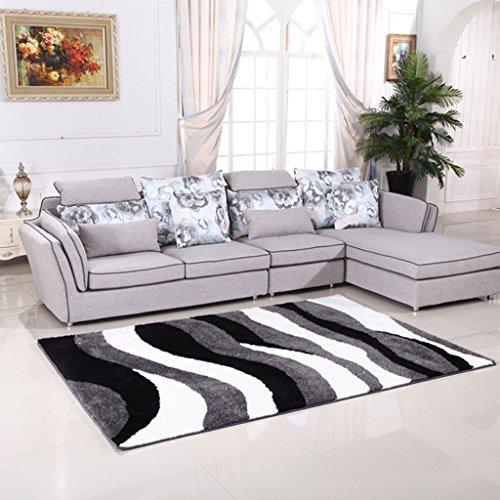 Qualität polyester teppich und komfortable hause boden warme schwarz-weiß gestreifte matte 120 * 170 cm ( Color : C ) (Gestreifte Boden-matte)