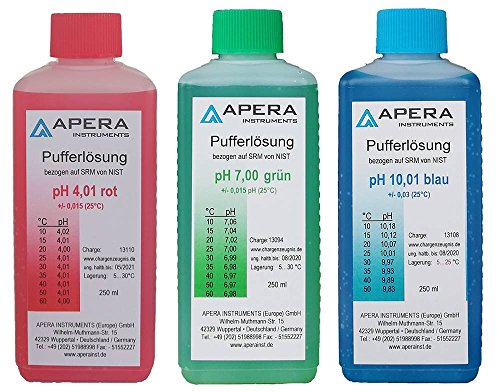 Apera Instruments pH Kalibrierlösung 4.01/7.00/10.01 je 250ml, Pufferlösung Set -