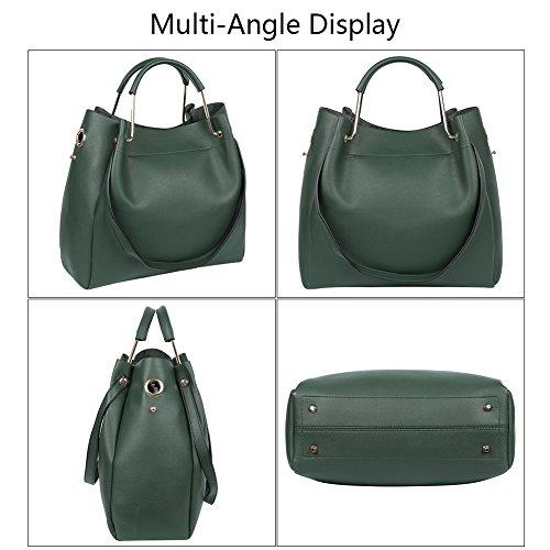 EGOGO Damen PU Leder Handtaschen, Eimer Tasche 2 PCS Umhängetasche Schultertasche Hobo Set mit Crossbody Messenger Bags und Handtaschen E535-1 (Grün) Grün