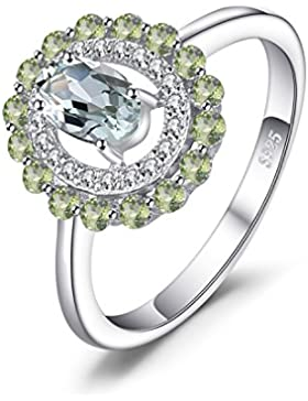 JewelryPalace Fashion 1ct Echte Runde Peridot Oval Grün Amethyst Ring 925 Sterling Silber