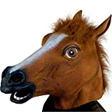 XIAO MO GU Máscara de la Cabeza de Animal Caballo, Máscara del Látex de la Decoración de Disfraces de Halloween para los Adultos y Niños - Marrón