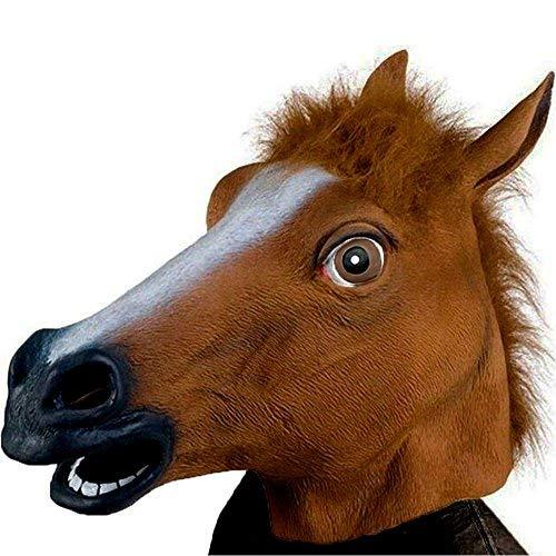 (XIAO MO GU Pferdemaske Halloween Maske Latex Tiermaske Pferdekopf Pferd Kostüm)