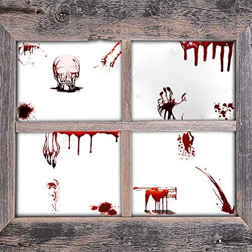 DCTOP Halloween Skelett Aufkleber Vampir Blutige Handabdrücke Aufkleber Zombiejäger Gruselblutflecken Aufkleber Fenster Kunst Wandbild Halloween Party Dekoration