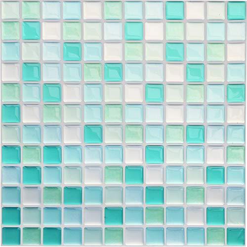 Yoillione Fliesenaufkleber Badezimmer Fliesenfolie Mosaik Fliesensticker Bad Fliesen Selbstklebend Fliesendekor, Blau 3D Fliesenaufkleber kKüche Fliesen Folie Wand Fliesen Aufkleber, 4er Pack (Mosaik Fliesen Badezimmer)