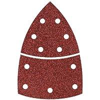 Wolfcraft 631469000 3118000-15 Hojas de esmerilar Adhesivas, corindón Grano 40,80,120, Perf. 2 Triangular de 95mm + Base, Set de 15 Piezas