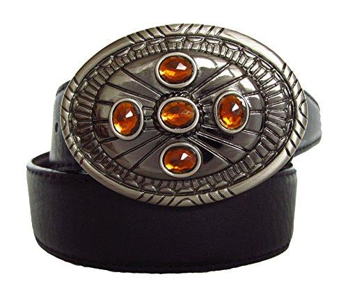 Gürtel-guru - cintura da donna in pelle con fibbia decorativa, diversi design disponibili bernsteinfarbig, schwarzes band, silberschnalle taglia unica