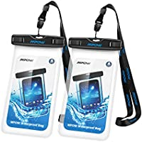 "Waterproof Phone Case[2Packs], Mpow IPX8 Waterproof Phone Pouch Dry Bag with Portable Lanyard for iPhone XS max/XS/XR/X/8/7 plus, Samsung and Other Phones up to 6.5"", Perfect for Beach, Hiking, Travel"