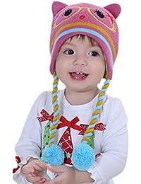Happy Cherry Bonnet Enfant Bébé Mignon Fille 3D Tricot Pompon Cacher  Oreille Chaud Hiver Earflap de Bande Beanie Chapeau Crochet Tricot Tour… 5bbffb30697