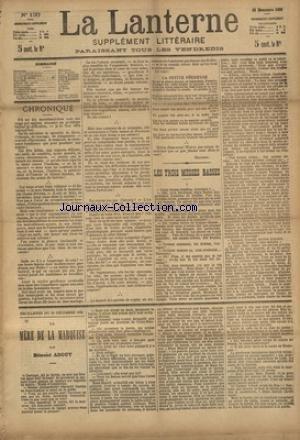 LANTERNE (LA) [No 130] du 26/12/1886 - LES TROIS MESSES BASSES PAR DAUDET - AU SEIN DE L'ABONDANCE PAR MOINAUX - SOLDATS DE PLOMB PAR POTONIE - MESSAOUD PAR D'ARGENAY - SOUS LA COUPOLE PAR GALIBEJO - LA SANTE PUBLIQUE PAR LE DR MARC - FEUILLETONS / LA MERE DE LA MARQUISE PAR ABOUT - ET TIMOLEON POLAC PAR CHAVETTE
