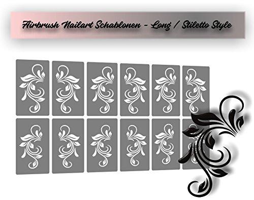 Airbrush-Schablonen, Nagellack Schablonen für aufregende selbstklebende Airbrush Nailart / Stiletto Long Nailart
