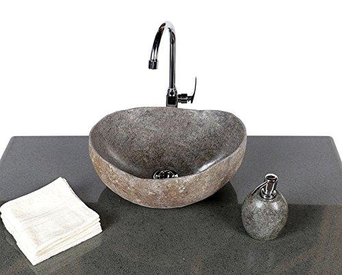 wohnfreuden Stein – Waschbecken Naturkante | Naturstein Waschbecken oval 40-50 cm | Aufsatzwaschbecken aus Stein für Ihr Badezimmer