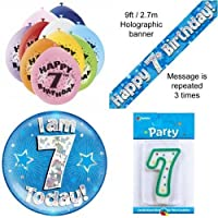 7th Birthday Party Set Age 7 Boys (Banner Balloons, Candle, Badge)