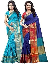 Vatsla Enterprise Women's Cotton Silk Saree (Combo Pack Of 2) (VRVICOMBOPANMORANDMORPICHH)
