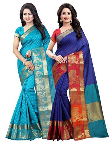 Vatsla Enterprise Women's Cotton Saree With Blouse Piece (Vcombopanmormorpichh_Blue)