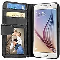 Samsung Galaxy S6 Hülle, EnGive Ledertasche Schutzhülle Case Tasche mit Standfunktion und Karte Halter Schwarz