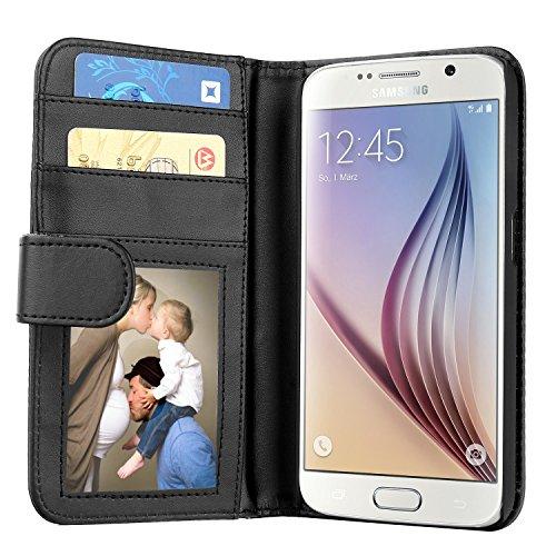Samsung Galaxy S6 Hülle, EnGive Ledertasche Schutzhülle Case Tasche mit Standfunktion & Karte Halter Schwarz