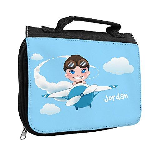 Kulturbeutel mit Namen Jordan und schönem Motiv mit Flugzeug und Pilot für Jungen | Kulturtasche mit Vornamen | Waschtasche für Kinder