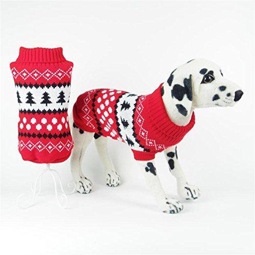 Saingace Vetement Chien Petite Taille Noel Chaud Hiver Col Rond Pull Chemise Manteau pour Petit/Moyen Chien Chihuahua Yorkshire Bouledogue Francais