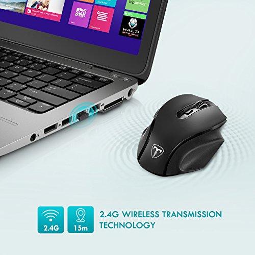 VicTsing Mini Schnurlos Maus Wireless Mouse 2.4G 2400 DPI 6 Tasten Optische Mäuse mit USB Nano Empfänger Für PC Laptop iMac Macbook Microsoft Pro, Office Home (Größere maus)