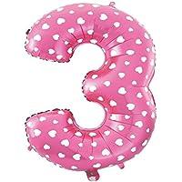 Cotigo– globo de aluminio número 3 del color rosa del helio para las fuentes de la fiesta del cumpleaños,1pcs,45cm,lleva un pajita para soplar