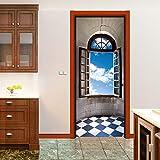3d Tür Aufkleber Aufkleber Fensterbrett PVC Tür Papier Wandbild wasserdicht nicht trocknen Kleber, geschält Aufkleber dekorative Dekoration 77x200 cm